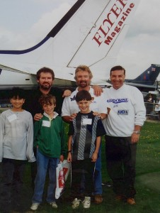 Geoffrey with Noel Edmonds where he helped with his Airborne Charity