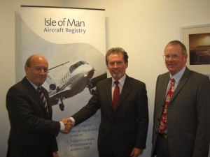 Geoffrey Boot (Chairman AOPA IOM/Vice Chairman UK AOPA) meeting Brian Johnson (Director of Civil Aviation) and Hartley Elder (Deputy Director of Civil Aviation of the Isle of Man).on 6 April 2009