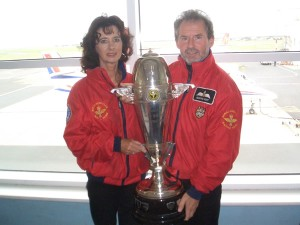 Geoffrey and Suzie proudly display the Manx Air Derby Trophy