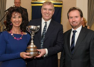 Geoffrey and Suzie receive the Jubilee Trophy celebrating their success in securing the European and  British Air Racing Championships in 2011 from HRH Duke of York.